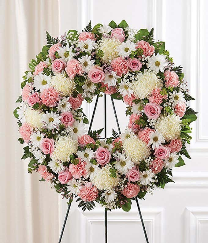 Pink White Flower Standing Wreath At