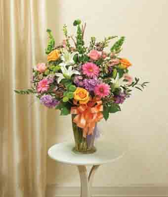 Pastel floral large sympathy vase arrangement at from you for Pastel colored flower arrangements