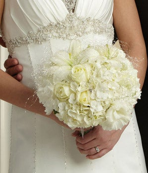 Bridal Bouquet of white lilies and hydrangea