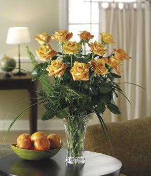 Burst of Orange Dozen Roses