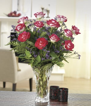 One dozen bi-color roses with Lenox® vase