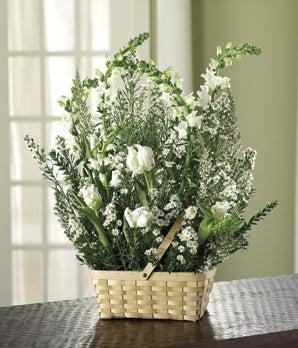 White Sympathy Floral Basket