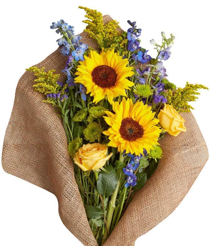 Sunflower burlap arrangement