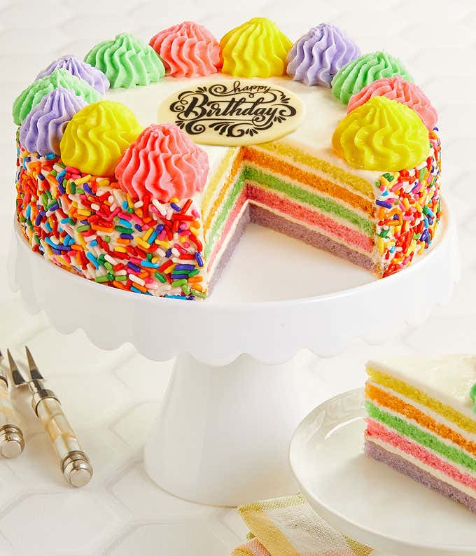 Tremendous Rainbow Birthday Cake At From You Flowers Funny Birthday Cards Online Fluifree Goldxyz