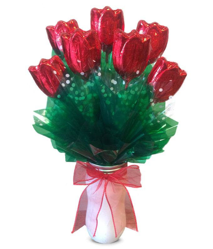 Romantic Red Chocolate Tulips