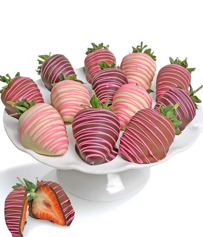 Pink Swizzled Chocolate Covered Strawberries - 12 Pieces
