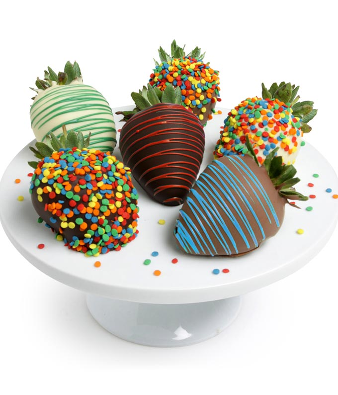 Chocolate Covered Birthday Strawberries - 6 Pieces