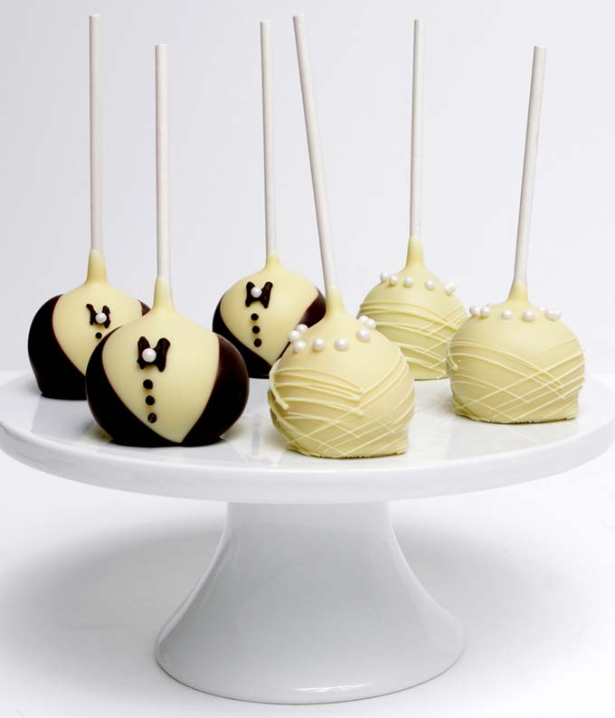 Bride & Groom Chocolate Covered Cake Pops - 6 Pieces