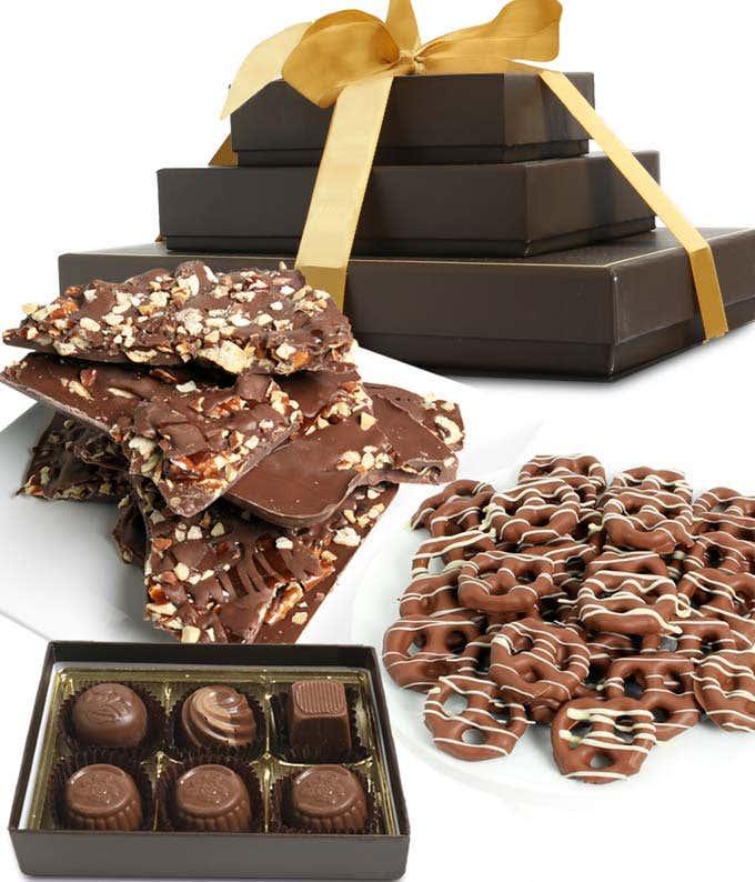 Sweet and Salty Milk Belgian Chocolate Gift Tower
