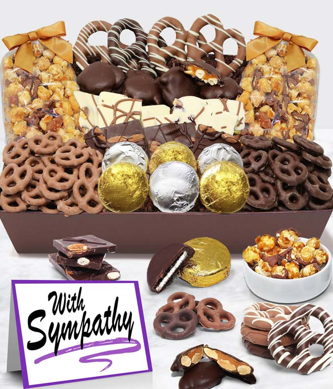 With Sympathy - Belgian Chocolate Covered Snack Tray
