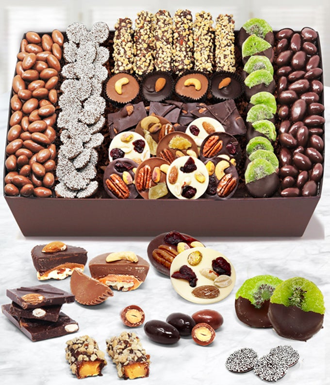 Premium Belgian Chocolate Covered Caramel, Nut and Fruit Tray