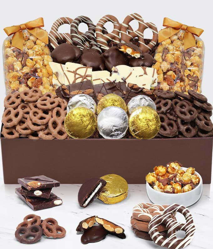 Belgian Chocolate Covered Snack Tray (Occasion-Specific Card included)