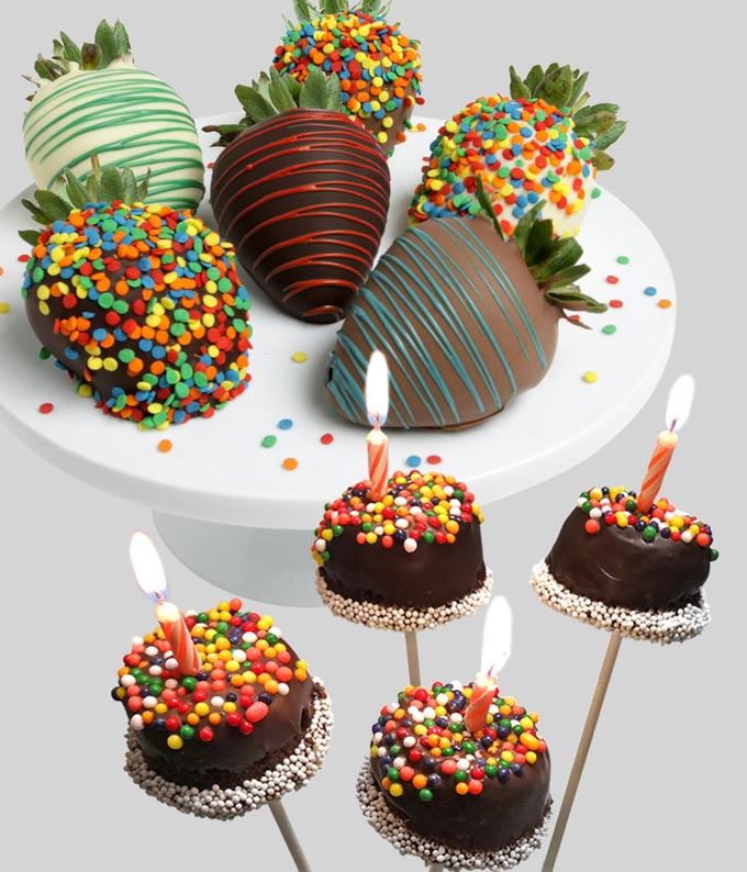 Happy Birthday Chocolate Covered Strawberries and Brownie Pops
