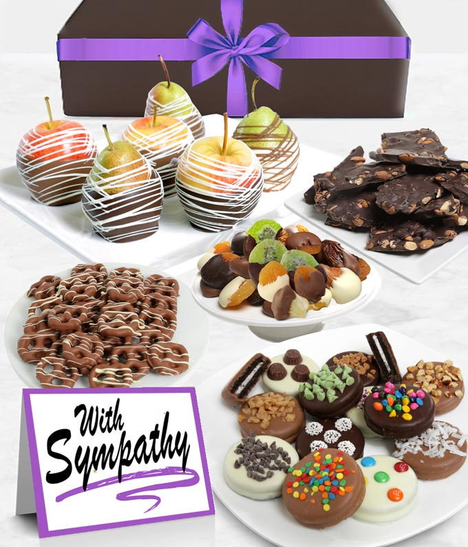 With Sympathy Belgian Chocolate Covered Fruit Gift Basket