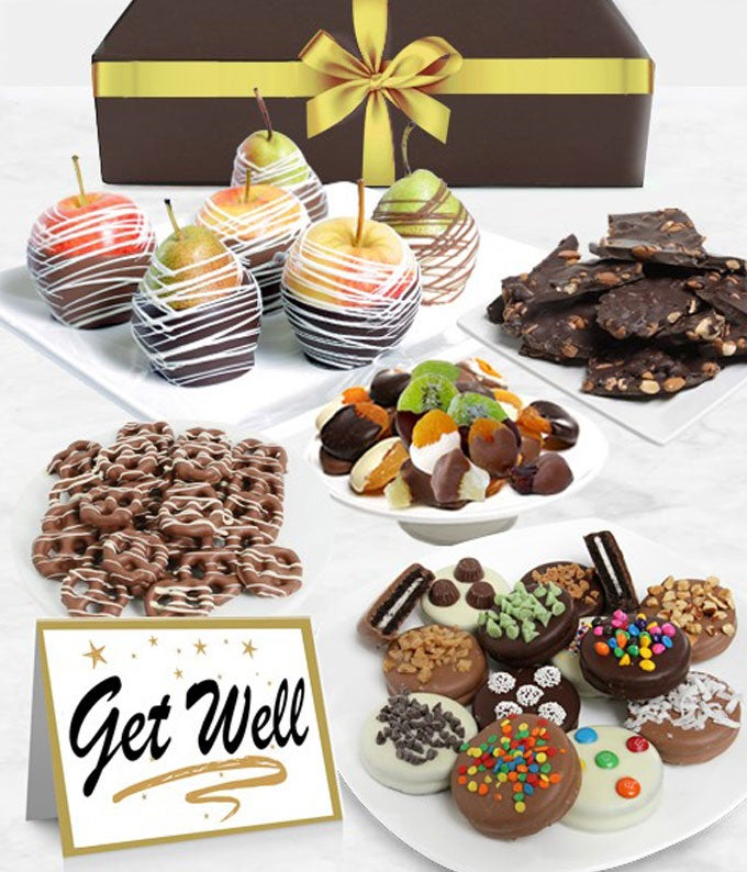 Get Well Belgian Chocolate Covered Fruit Gift Basket