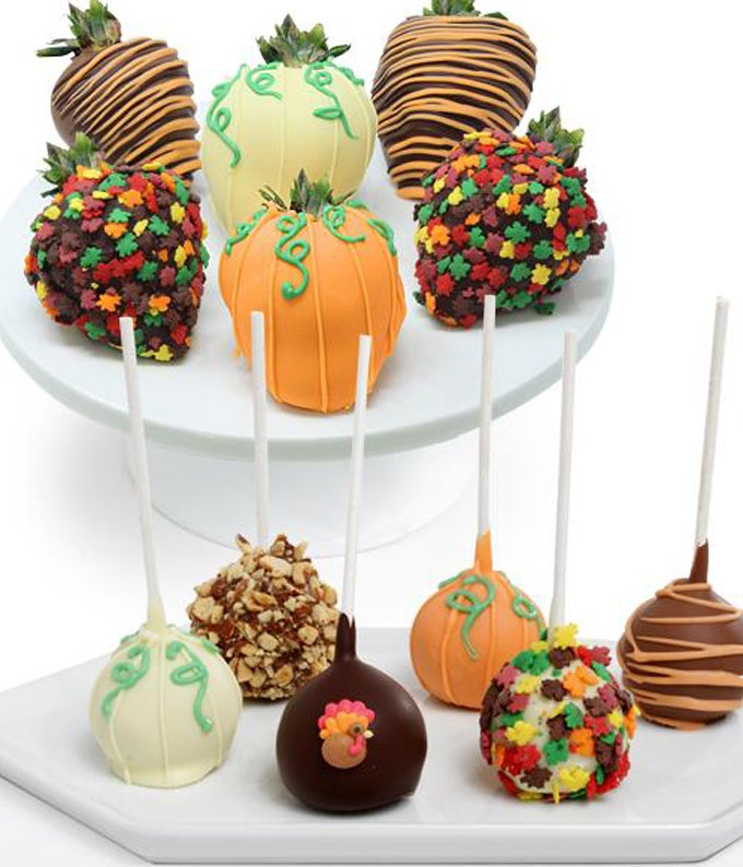 Thanksgiving Chocolate Covered Strawberries and Cake Pops
