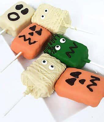 Halloween chocolate covered rice crispy treats
