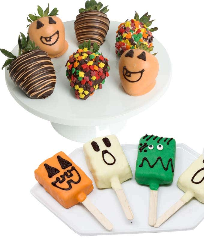 Halloween chocolate covered crispy pops and strawberries