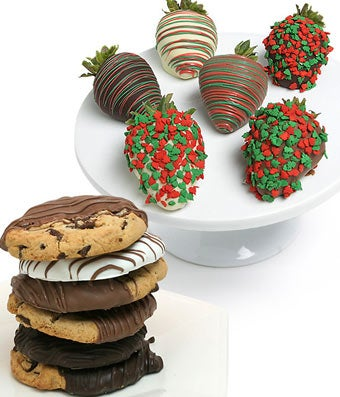 Christmas Chocolate Covered Strawberries & Cookies