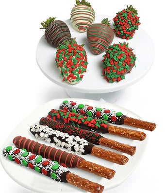 Christmas Chocolate Covered Strawberries & Pretzels