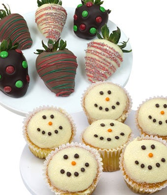 Christmas Chocolate Covered Strawberries & Snowman Cupcakes