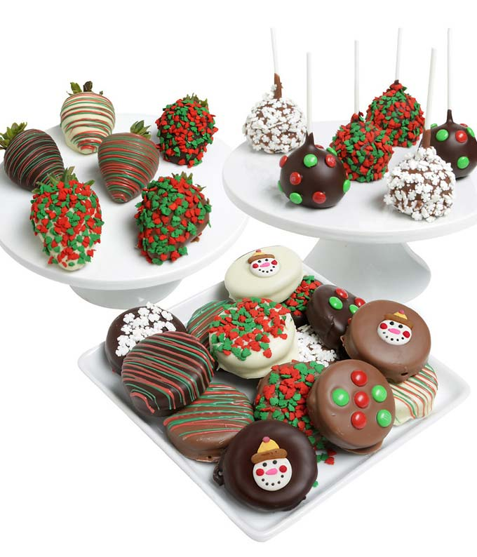 Christmas Chocolate Covered Trio - Strawberries, Oreos, and Cake Pops