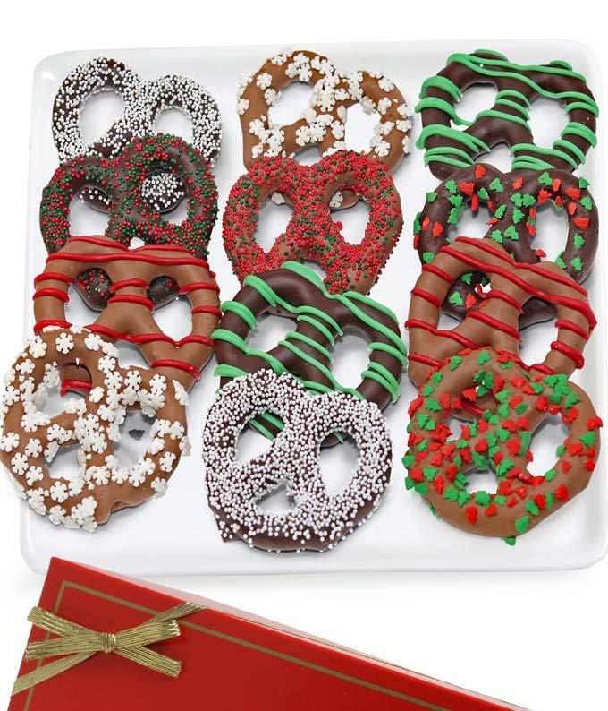 Christmas Belgian Chocolate Covered Pretzels - 12 Piece