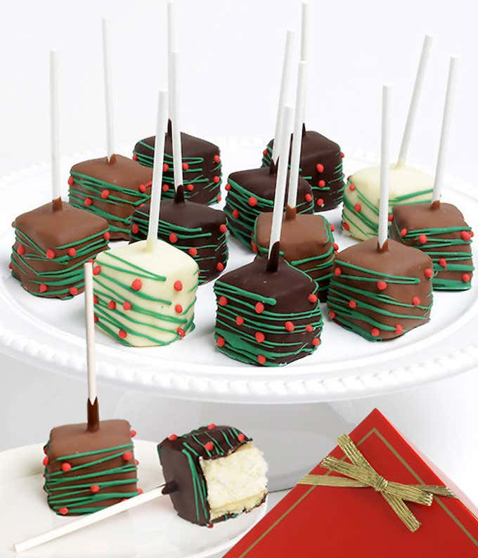 Christmas Chocolate Covered Cheesecake Pops