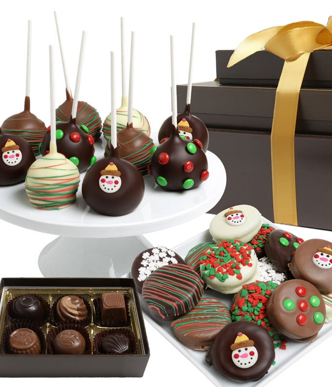 Festive Holiday Belgian Chocolate Covered Gift Tower