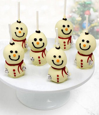 Belgian Chocolate Dipped Cake Pops: Snowmen Edition - 6 Pieces