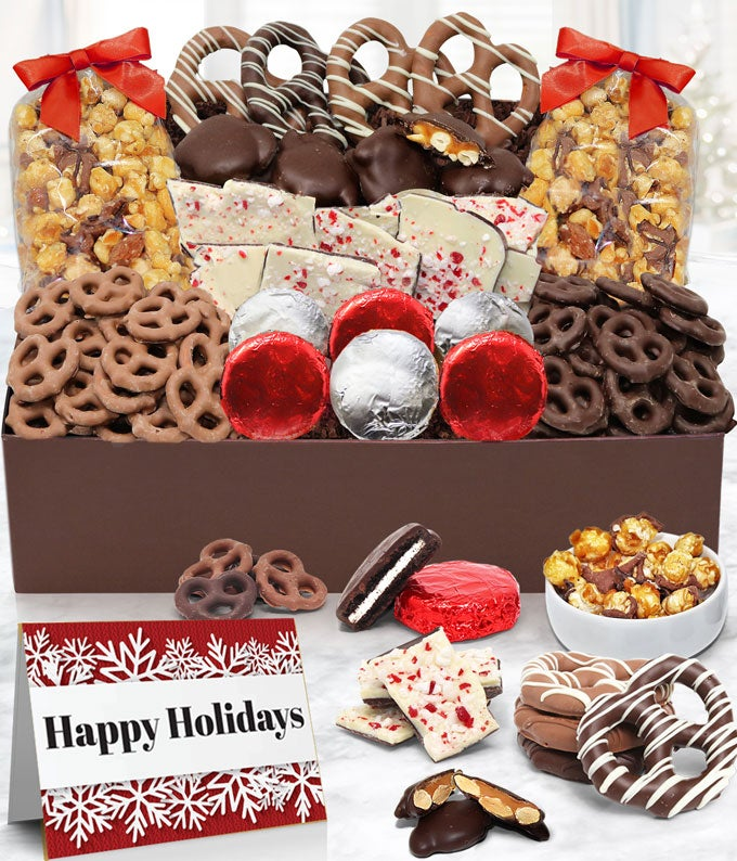 Happy Holidays Chocolate Covered Snack Tray