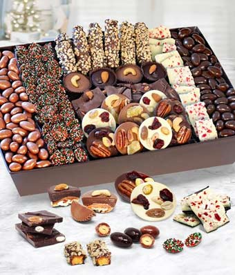 Holiday Chocolate Covered Caramel Nut and Fruit Tray