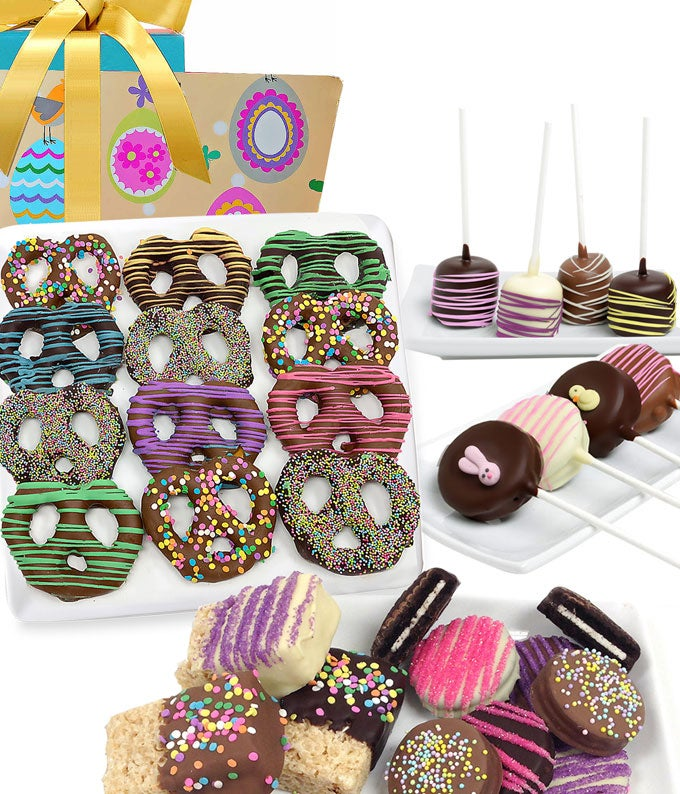 Easter decorated chocolate covered pretzels, rice treats, oreas and marshmallows