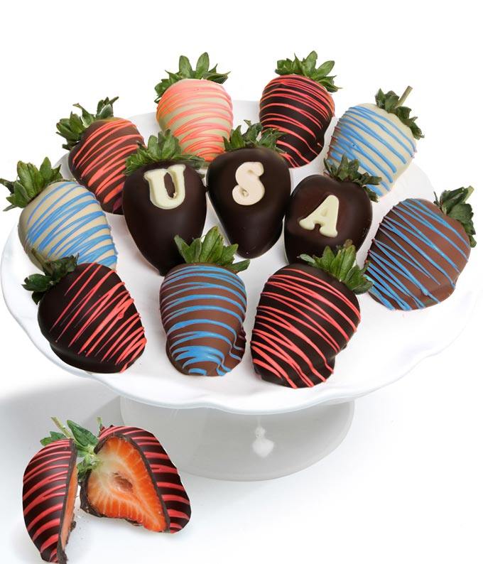 Patriotic Belgian Chocolate Covered Strawberries - 12 Pieces