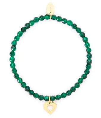 Green Jade Bracelet with Heart Charm