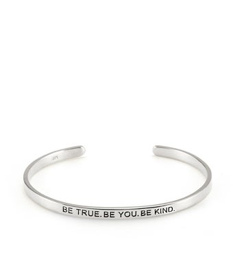 BE Silver Message Bracelet