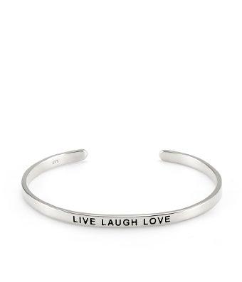 Silver Message Bracelet- Live Laugh Love