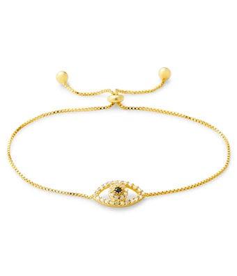 Gold CZ Evil Eye Bolo Bracelet