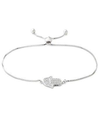 Sterling Silver CZ Hamsa Bolo Bracelet