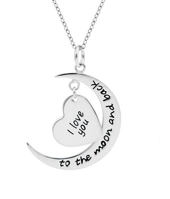 I Love You To The Moon and Back Heart Charm Necklace