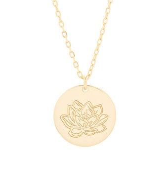July Birth Flower Lotus Pendant