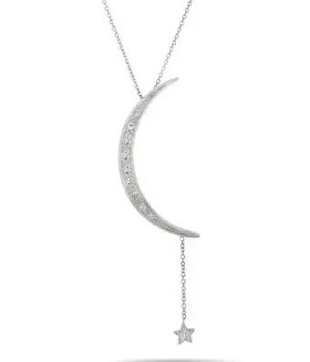 Moon and Star CZ Sterling Silver Necklace