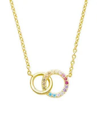 Rainbow Double Link Circle CZ Necklace