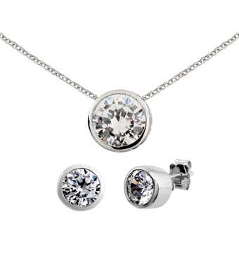 Sterling Silver Bezel Set Cz Earrings And Necklace