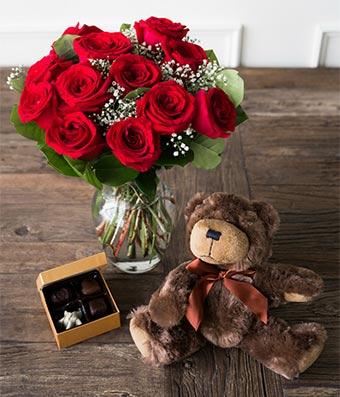 One Dozen Red Roses with Godiva Chocolate & Stuffed Teddy Bear