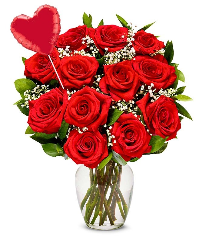 One Dozen Red Roses Heart Eye Emoji Balloon At From You Flowers