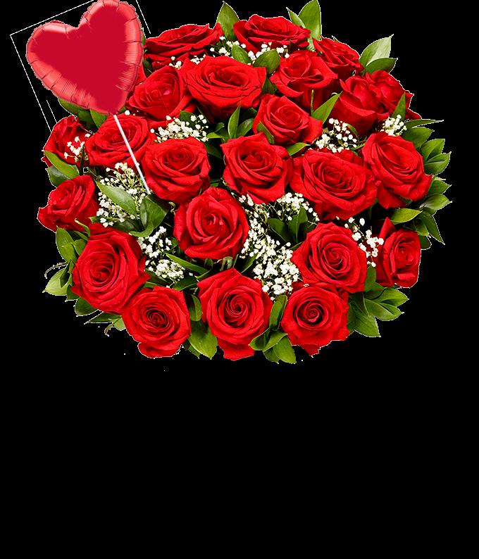 Two Dozen Red Roses + Heart Balloon