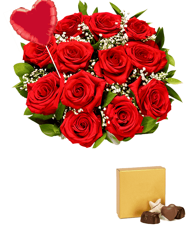 One dozen red roses with a heart balloon and teddy bear