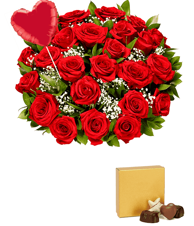 Two Dozen Red Roses + Heart Balloon + Chocolate