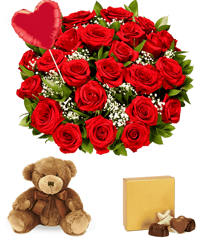 Two Dozen Red Roses + Heart Balloon + Chocolate + Bear
